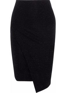 By Malene Birger Woman Wrap-effect Metallic Stretch-knit Skirt Black