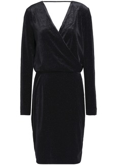 By Malene Birger Woman Wrap-effect Metallic Velvet Dress Black
