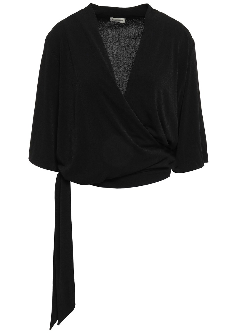 By Malene Birger Woman Wrap-effect Stretch-crepe Top Black