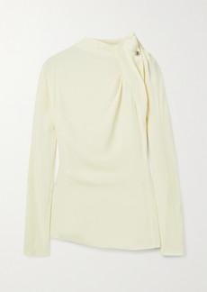 By Malene Birger Diora Embellished Gathered Crepe Blouse