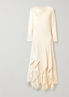 By Malene Birger Ebonee Twist-front Ruffled Paneled Crinkled-satin And Crepe Dress