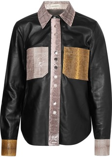 By Malene Birger Estasa Watersnake-trimmed Leather Shirt