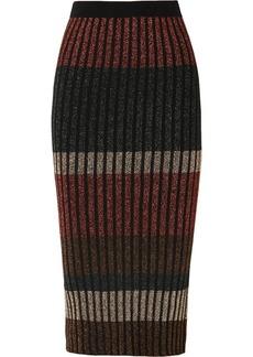 By Malene Birger Hollis Striped Metallic Ribbed-knit Midi Skirt