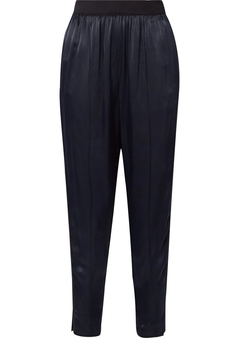 By Malene Birger Ietos Grosgrain-trimmed Satin Tapered Pants