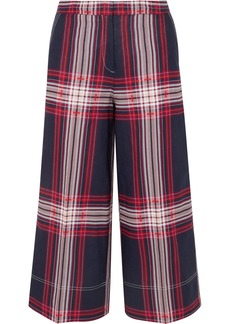 By Malene Birger Ilan Cropped Checked Linen And Cotton-blend Wide-leg Pants