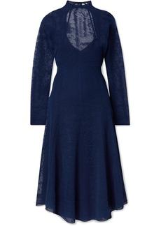 By Malene Birger Lampas Open-back Jacquard-knit Midi Dress