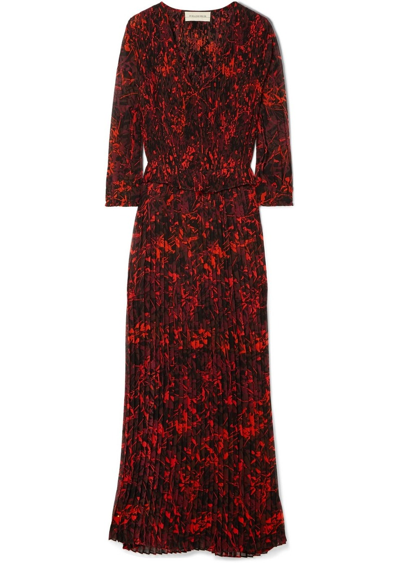 By Malene Birger Midotter Pleated Printed Chiffon Maxi Dress