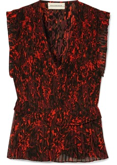 By Malene Birger Orca Pleated Printed Chiffon Blouse