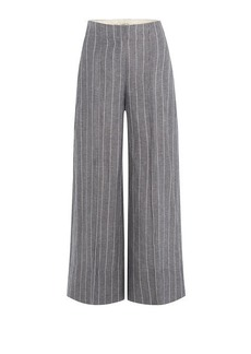 By Malene Birger Pinstriped Culottes with Linen
