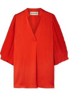 By Malene Birger Sanah Pleated Crepe And Georgette Blouse