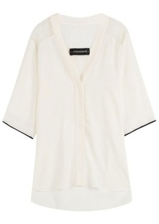 By Malene Birger Silk Blouse with Sheer Shoulder Panels