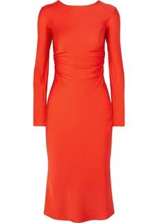 By Malene Birger Tondio Ruched Stretch-silk Satin Midi Dress