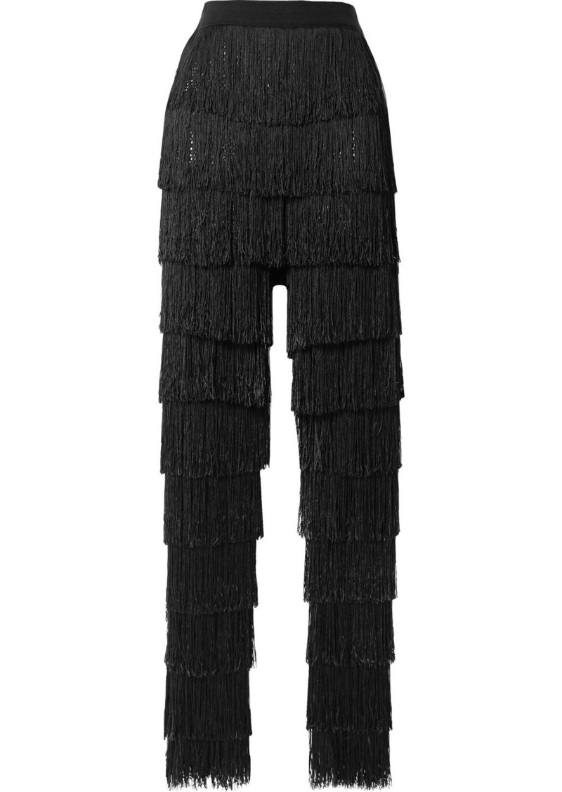By Malene Birger Zelma Fringed Fishnet Slim-leg Pants