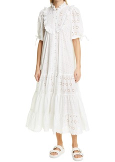 byTiMo Broderie Anglaise Bib Front Midi Dress