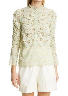 byTiMo Broderie Anglaise Ruched Blouse