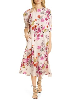 byTiMO Delicate Diamond Jacquard Floral Print Midi Dress