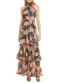 byTIMO Halter Neck Floral Chiffon Maxi Dress