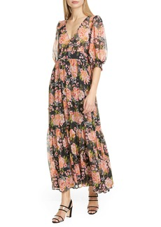 byTIMO Puff Sleeve Floral Chiffon Maxi Dress