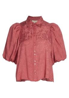 byTiMo Jacquard Puff-Sleeve Shirt