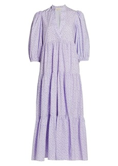 byTiMo Puff-Sleeve Floral Cotton Maxi Dress
