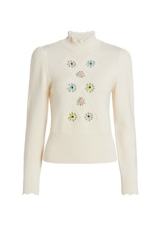 byTiMo Soft Embroidered Knit Turtleneck
