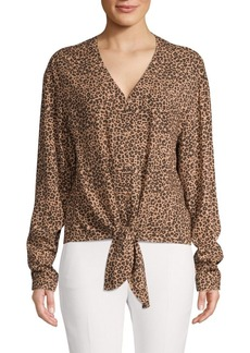 C & C California Animal-Print Tie-Front Top