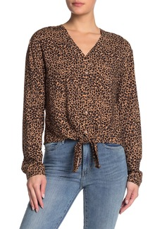 C & C California Animal Print Tie Hem V-Neck Blouse