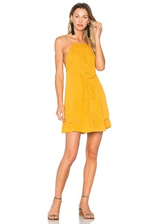 C & C California Dahna Strappy Embroidered Dress in Mustard. - size S (also in L,M,XS)