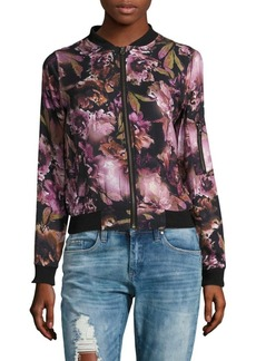C&C California Baseball Collar Floral-Print Jacket