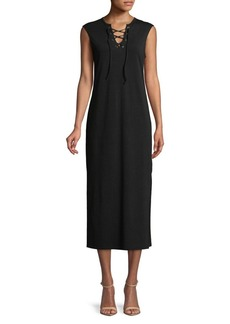 C & C California C&C California Lace-Up Sleeveless Midi Dress