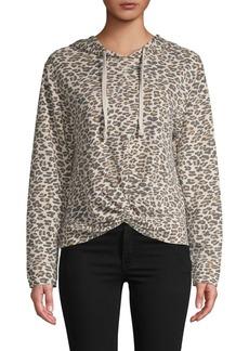 C & C California C&C California Leopard-Print Cotton-Blend Hoodie