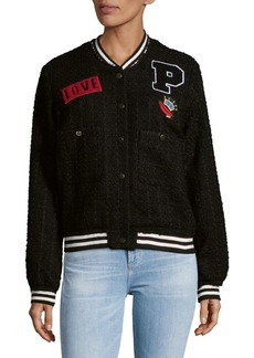 Patch Tweed Bomber