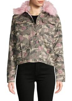 C & C California Faux Fur-Trim Camo & Floral-Print Cotton Jacket