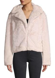 C & C California Faux Fur-Trim Notch Lapel Jacket
