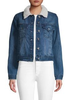 C & C California Faux Shearling Collar Denim Jacket