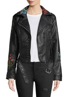 C & C California Floral-Embroidered Moto-Style Jacket