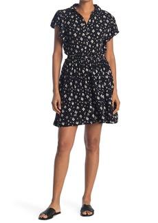 C & C California Flutter Sleeve Crinkle Gauze Dress
