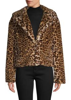 C & C California Leopard-Print Faux Fur Jacket