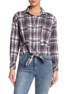 C & C California Plaid Print Tie Hem Shirt