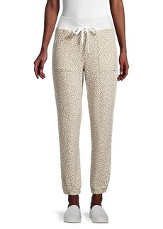 C & C California Snow Leopard-Print Knit Pants