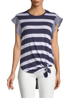 C & C California Striped Hi-Lo Short-Sleeve Top