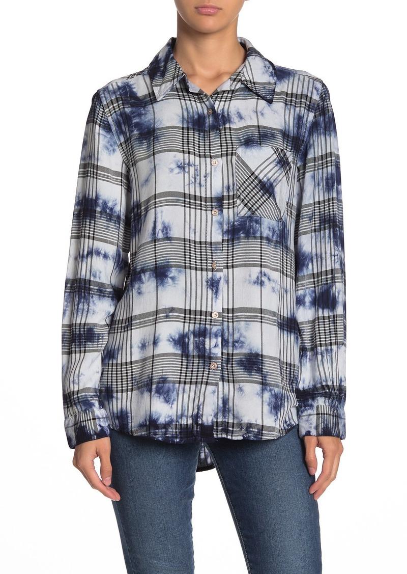 C & C California Tie-Dye Plaid Button Front Shirt