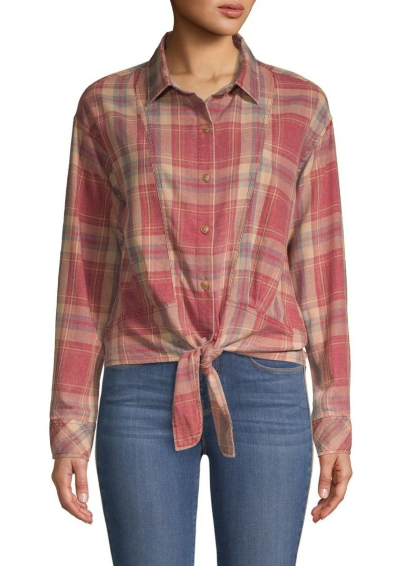 C & C California Tie-Front Cotton-Blend Shirt