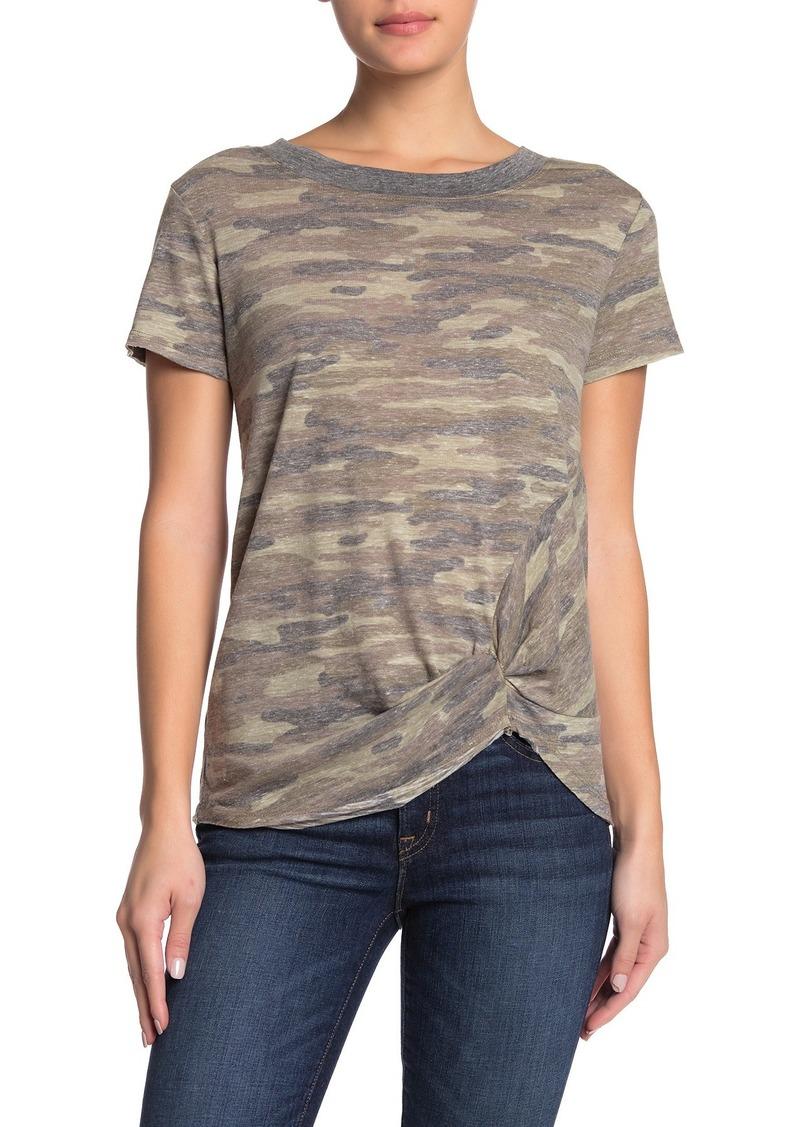 C & C California Twist Hem Camo Print Ringer T-Shirt