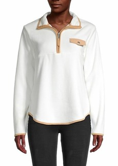 C & C California Zip-Neck Long-Sleeve Top