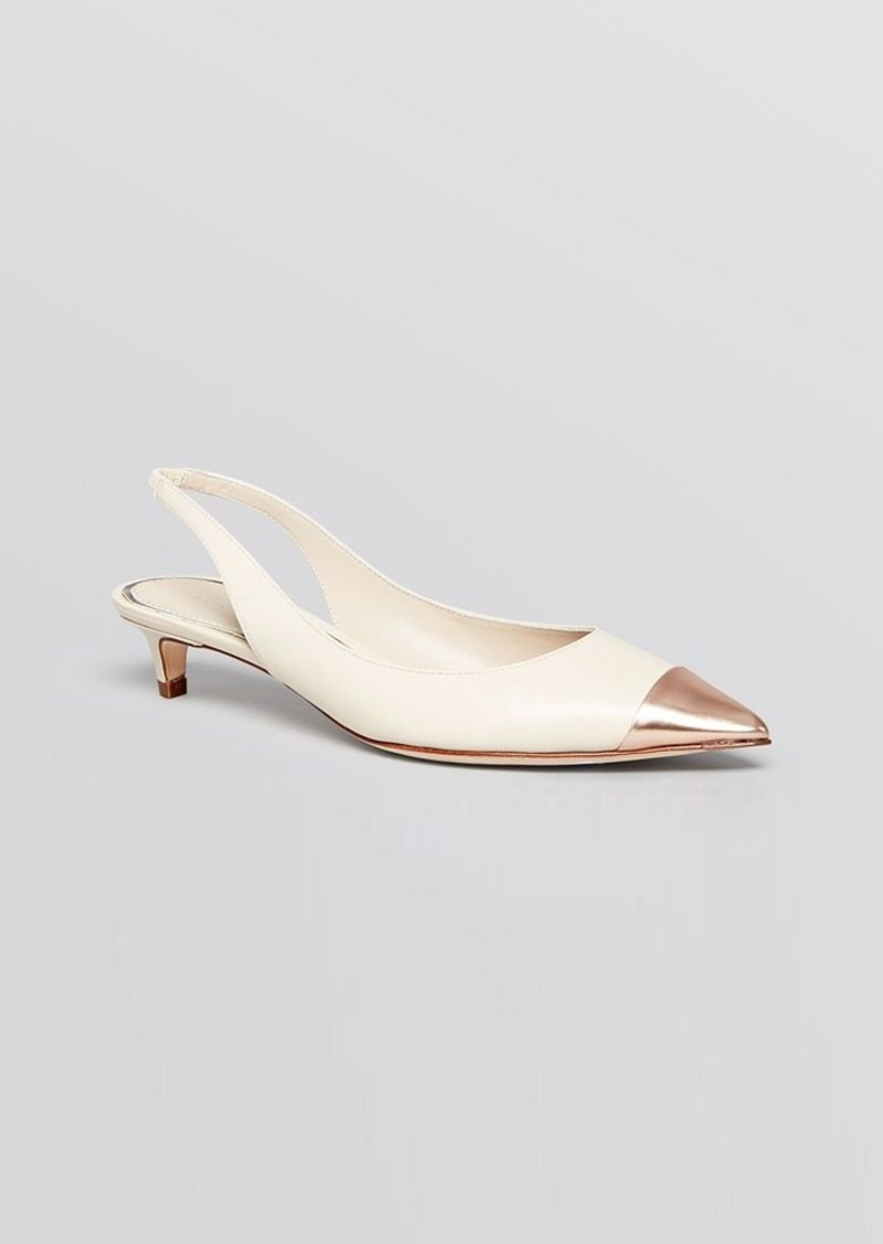 Elie Tahari Pointed Toe Slingback Pumps - Sasha Kitten Heel