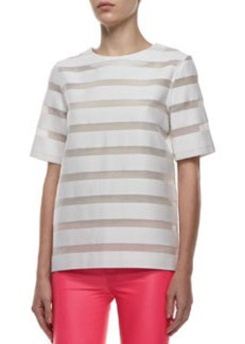 J Brand Earhart Striped Mesh Blouse   Earhart Striped Mesh Blouse