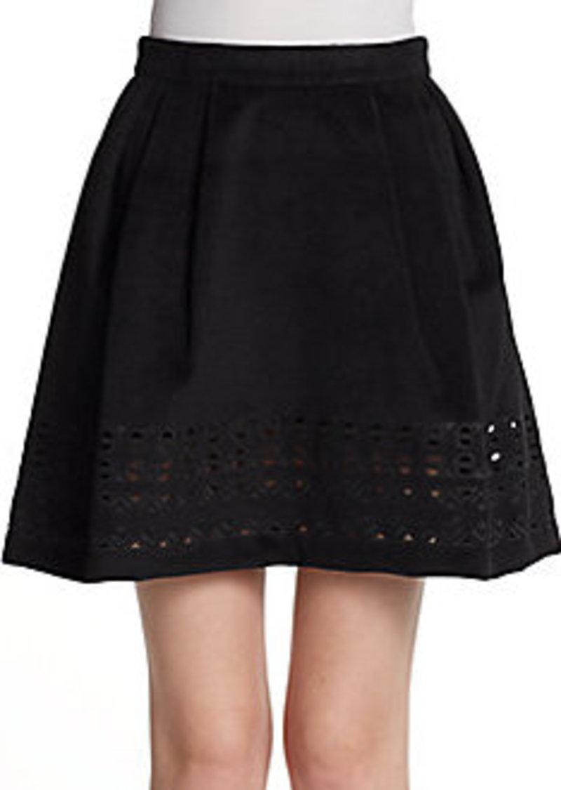 Catherine Malandrino Alaine Geometric-Eyelet Detail A-Line Skirt