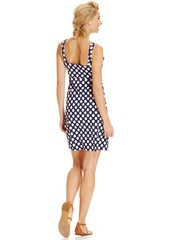 Charter Club Petite Sleeveless Empire-Waist Polka-Dot Dress