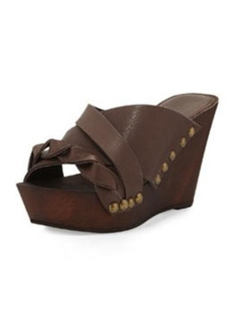Charles David Menum Braided Leather Wedge Sandal, Brown